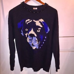 SPIKED DOGGY FACE SWEATER - SIZE LARGE